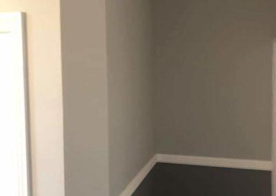 hallway restoration, spray plaster