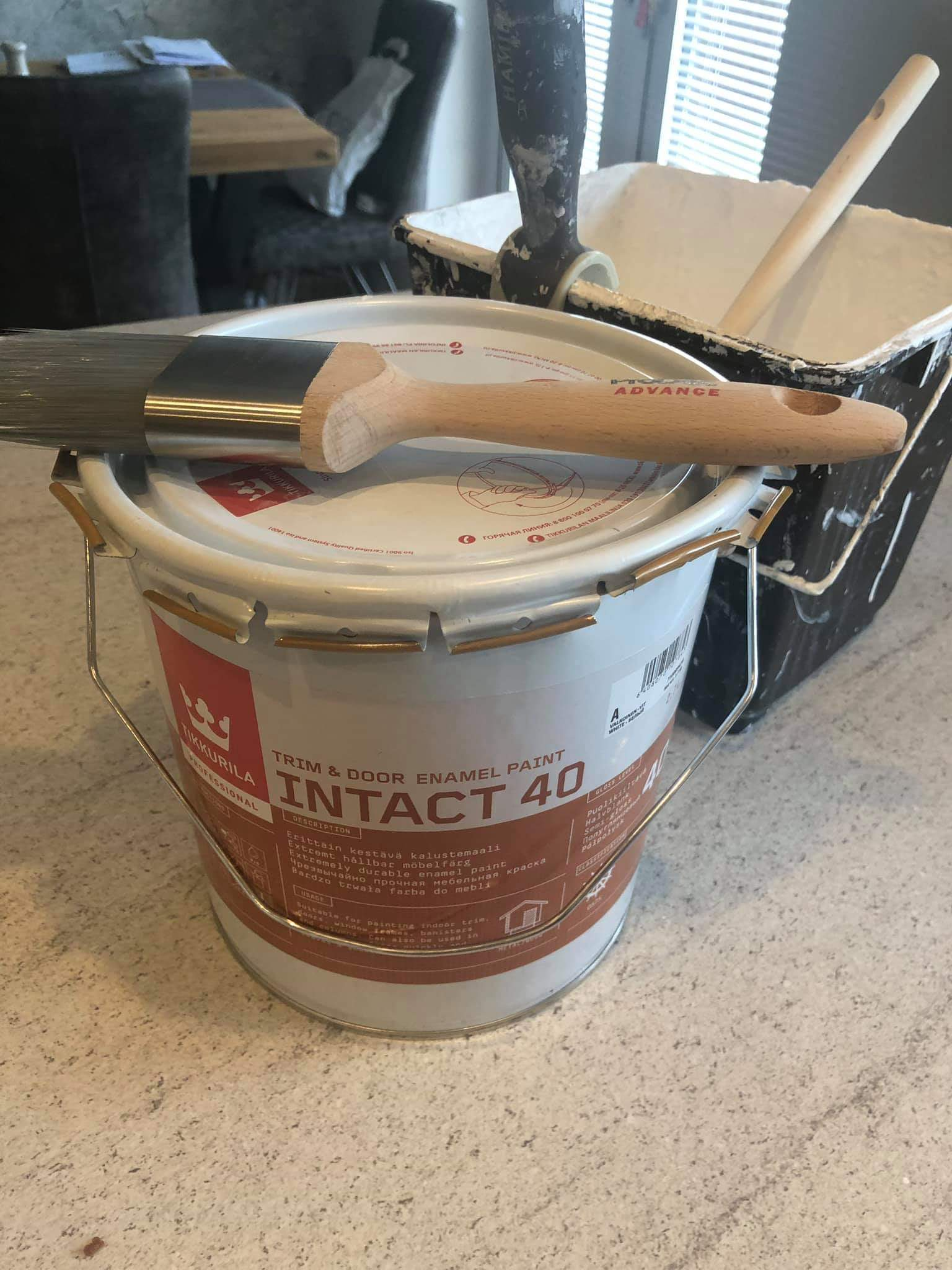 Tikkurila Intact Waterbased Trim Paint Review with Ice Fusion brush