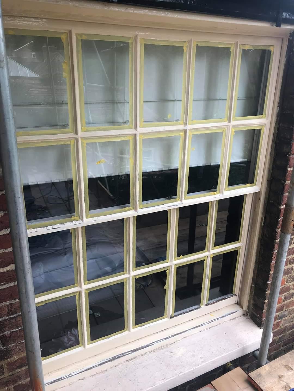 Masking up Sash Windowpanes to Paint Them