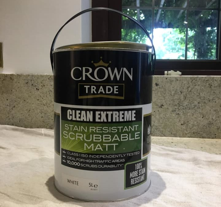 Clean Extreme Stain Resistant Matt from Crown in white. A durable paint for walls and ceilings