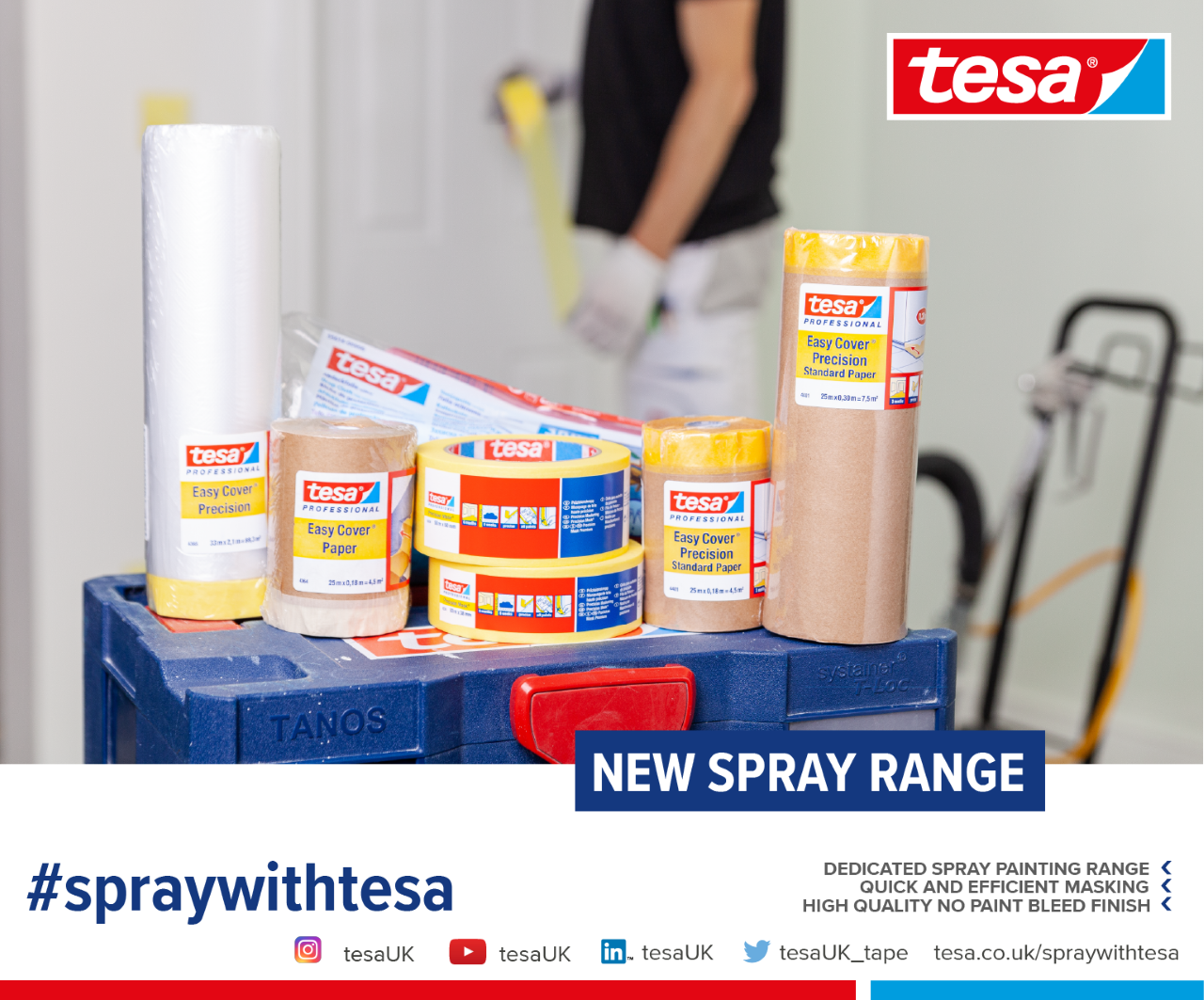 Tesa, who are the market leader in masking products are to Introduce NEW Easy Cover Products for interior and interior spraying.