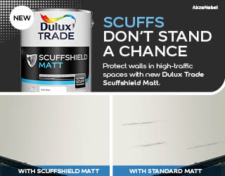 Dulux Trade unveils the ultimate in scuff resistance with new Scuffshield, an emulsion which is up to 3 times more scruff resistant than durable matt. the most scuff resistant paint on the market