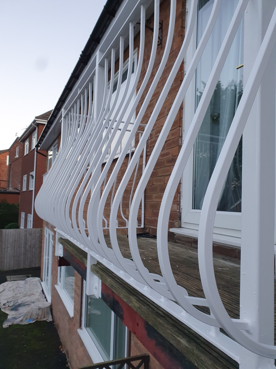 finished metal railings after being painted with hammerite